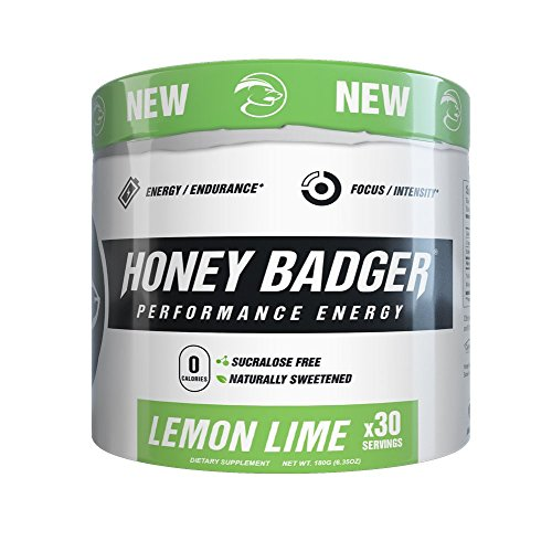 Honey Badger Performance Energy Pre-Workout (Lemon Lime / 30 Servings / Sucralose Free / Naturally Sweetened / CarnoSyn ® Beta-Alanine)