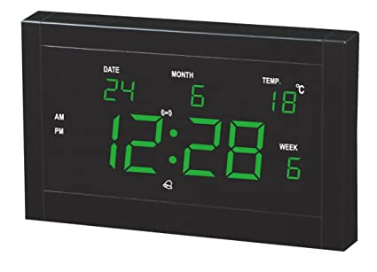Despertador Reloj Digital LED emisor de LED reloj calendario reloj LED reloj de enchufe, green