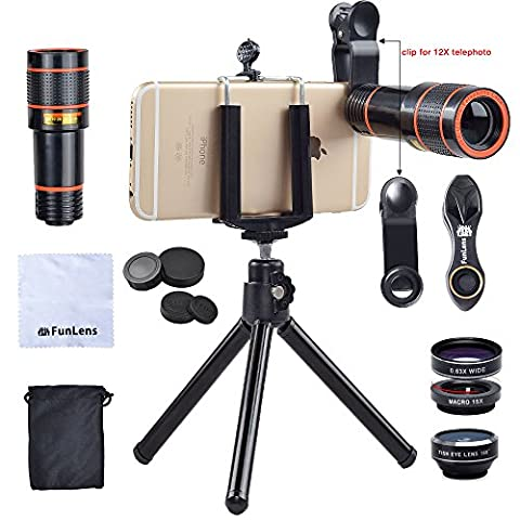 Cell Phone Camera Lens Kit | 4 in 1 Universal Clip 12x Zoom Telephoto Lens Tripod for iPhone 7/7 Plus /6s/6s Plus/6/5, Samsung S7/S7 Edge & Most (Cell Phone Accessories)