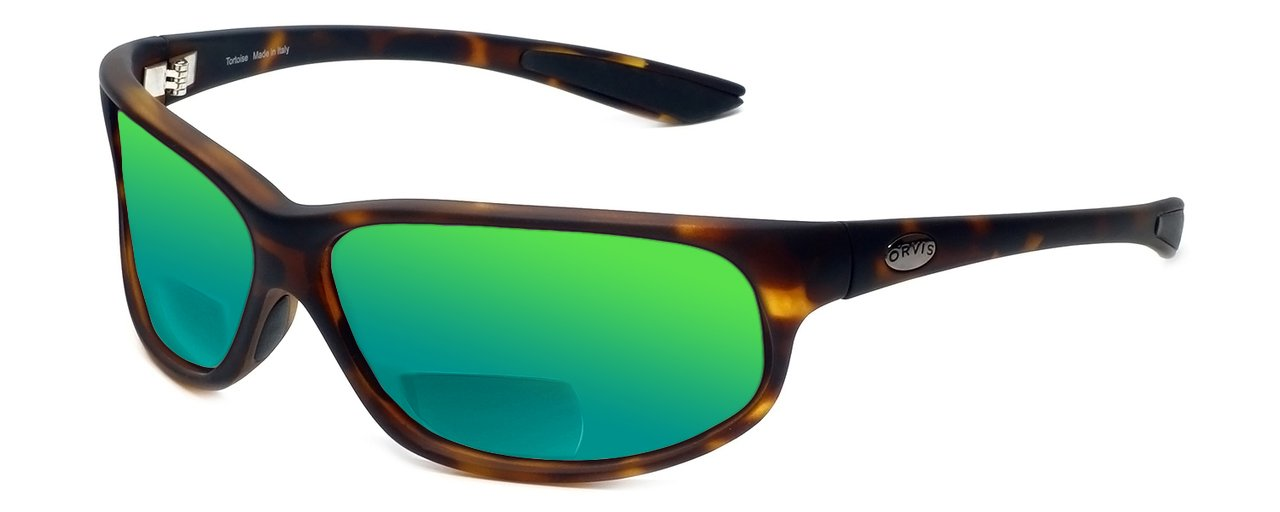 Orvis Midway Polarized Bi-Focal Reading Sunglasses in Matte-Tortoise w/Green Mirror Lens +1.75 by Orvis