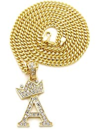 Unisex Small Pave Crowned Initial Alphabet Letter Pendant...