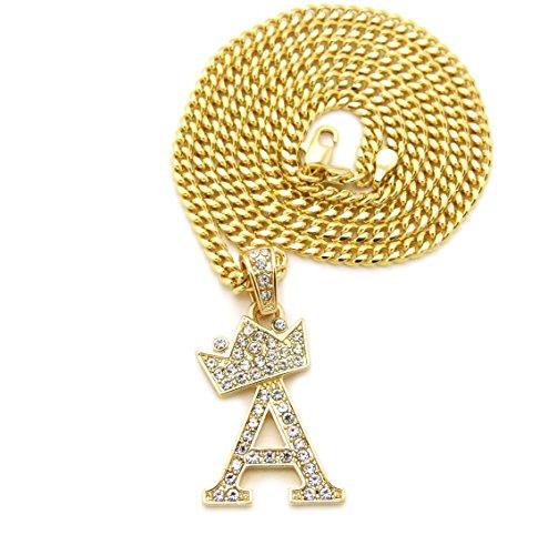 Pendant Alphabet Necklace Letter (Unisex Small Size Pave Crown Tilted Initial Alphabet Letter Pendant 3mm 24