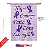 Cheap Breeze Decor H115091 Hope, Faith, Courage (Purple) Inspirational Support Vertical House Flag, 28″ x 40″, Multicolor