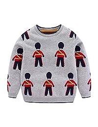 Mud Kingdom Little Boys Sweater Cute Pattern Pullover Gray
