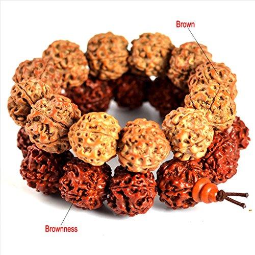 Acupress Fashional Handmade Elastic String Scented Rudraksha Prayer Beads Wrap Bracelet Mala- Rudraksha Tibetan Prayer Beads - Mala Prayer Beads - Tibetan Jewelr-in Varied Sizes (Brown 16mm*12 beads)