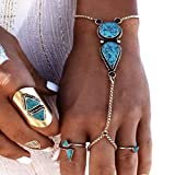 HIRIRI 1PC Hot Sale Turkish Jewelry Bohemian Ethnic Vintage Silver Coin Turquoise Bracelet Anklet For Women (Silver)