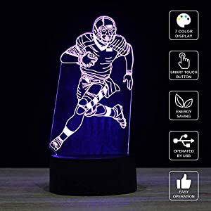 3D Illusion LED Night Light,7 Colors Gradual Changing Touch Switch USB Table Lamp for Holiday Gifts or Home Decorations (Baseball Light,Baseball Player)