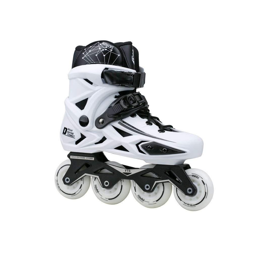 XDSAインラインスケート インラインスケート、プロの男性と女性のための大人の単列スケート子供(白)初心者フルセット (Color : B, Size : 38 EU/6 US/5 UK/24cm JP)