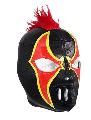 CRAZY CLOWN Adult Lucha Libre Wrestling Mask (pro-fit) Costume Wear - Black/Red (Crazy Mask)