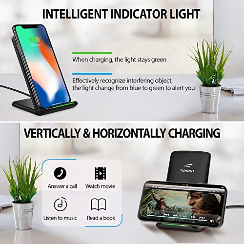 iPhone X Wireless Charger, ELLESYE 3-Coil Qi Wireless Charger Stand for iPhone X, iPhone 8/8 Plus, Galaxy Note 9/S9/S9 Plus/Note8/S8/S8 Plus/S7/S7 Edge/S6 Edge Plus, LG G6 and All QI-Enabled Devices by ELLESYE (Image #5)