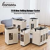 Caroeas Rolling Laundry Cart Clothes Hamper Mesh