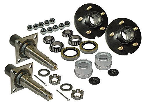 Rigid Hitch Pair of 5-Bolt on 4-1/2 Inch Hub Assembly (AKRD-3500545F) Includes (2) Flanged, 1-3/8 Inch to 1-1/16 Inch Tapered Spindles & Bearings