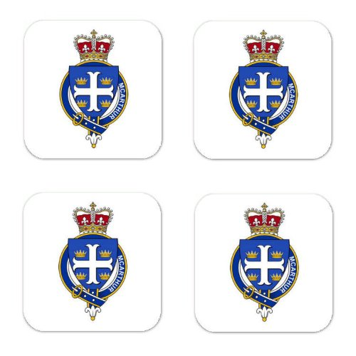 Mcarthur Scotland Family Crest Square Coasters Coat of Arms Coasters - Set of ()