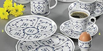 18 Teile Kaffeeservice Tallin Indisch Blau Kaffeeset für 6 Personen ...