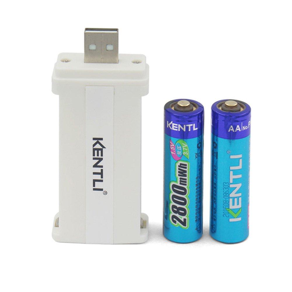 KENTLI 2 ports USB Protable AAA AA Li charger + 2PCS AA 1.5V 2800mWh Kentli Lithium Li-ion Rechargeable Li-polymer Batteries