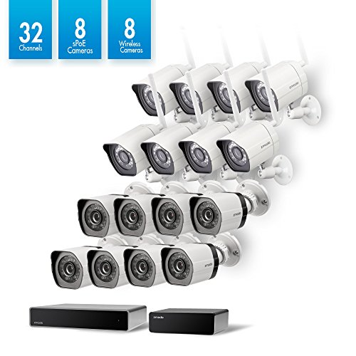Zmodo 32 Channel Network NVR 8 sPoE Camera + 8 Wireless WiFi Camera Weatherproof HD Security System,Customizable Motion Detection, w/ sPoE Repeater for Flexible Extension by Zmodo