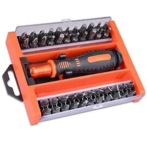 screwdriver assorted bit set w case quick release handle 45 piece automotive. Black Bedroom Furniture Sets. Home Design Ideas