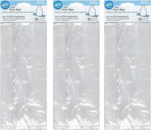 Wilton Party Bags, 4 by 9.5-Inch, Clear, 50-Pack (3 pack)