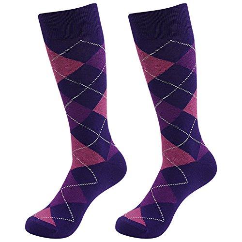 Casual Fun Socks SUTTOS Men's Custom Elite Purple Argyle Jacquard Plaid Cotton Knit Mid Calf Crew Dress Socks Wedding Groomsmen Gifts Christmas Thanksgiving 2 - Mens Fashion Purple