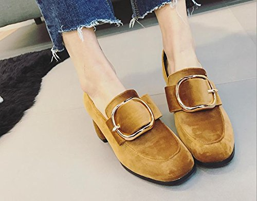 La nueva cabeza cuadrada con una sola zapatos con hebilla de lado informal zapatos de tacón alto Khaki