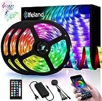 Elfeland LED-remsor 15 m LED Stripes RGB 5050SMD 300 LED band LED remsa styrbar via app LED band synkronisering med musik...