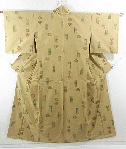 写真撮影髄不機嫌リサイクル 着物 紬 格子に柿模様 正絹 袷 裄66.5cm 身丈163cm