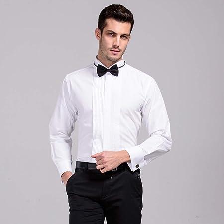 CSDM - Camisa para Hombre con Cuello de Punta de ala y Cuello Formal, Camisas de Esmoquin, Camisas de Novio, Camisas de Boda para Hombres, Blanco, Asian Size S: Amazon.es: Hogar