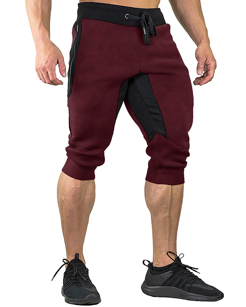 FASKUNOIE Men's Capri Jogger Pants Fashion Summer Short Pants Tapered 3/4 Shorts Wine Red by FASKUNOIE