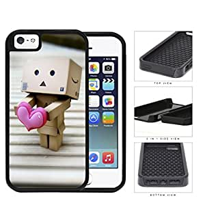 Robot Made Of Cardboard Boxes With Pink Heart 2-Piece Dual Layer High Impact Rubber Silicone Cell Phone Case Apple iPhone 5 5s