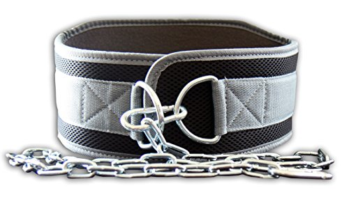 Fire Team Fit Weight Belt with Chain, Weight belt with chain, dip belt, dipping belt, Dipping Belt, weight dip belt, Grey, Small (for waist size LESS than 40 inches)