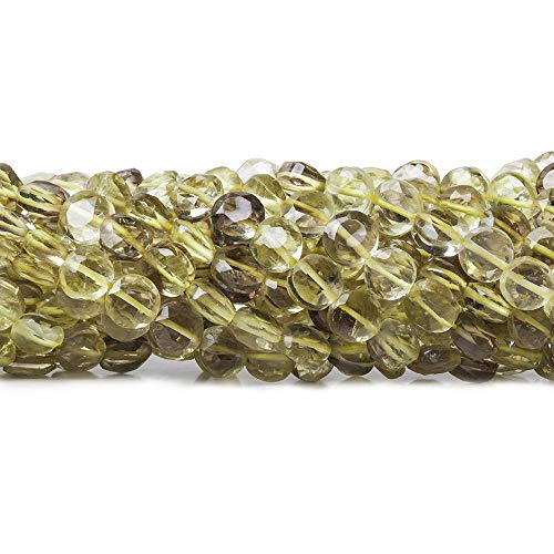 5mm Bi-colored Quartz Beads Faceted Coin Beads, 14 inch ()
