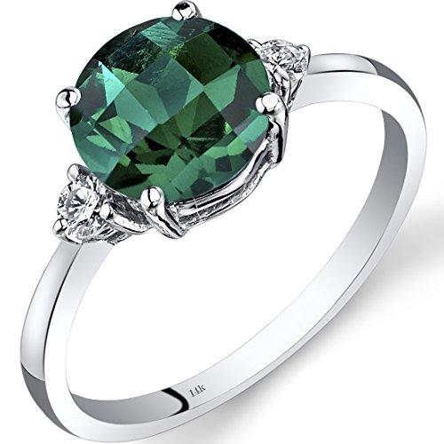 Peora 14K White Gold Created Emerald Diamond Ring 1.75 Carat Round Cut ()