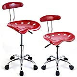 2PC Adjustable Bar Stools ABS Tractor Seat Swivel Chrome Home Office Kitchen Breakfast Red #373