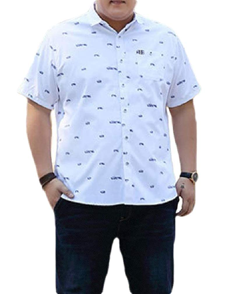 Smallwin Mens Short Sleeve Plus Size Pocket Print Dress Button Down Shirts