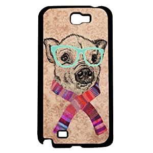 Cute Little Hipster Piggy in Teal Glasses and Colorful Spring Scarf Hard Snap on Phone Case (Note 2 II)