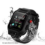 AIUERU Waterproof Apple Watch Case 42mm Series 2 & 3, IP68 Waterptoof Shockproof Impact Resistant, Apple Watch Case with a Soft Silicone Watch Band, Black