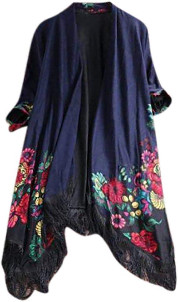 1920s Shawls, Wraps, Scarves, Fur Stole Mounter-Tops Women Ethnic Floral Tassel Cardigan Coat Ladies Casual Loose Jacket Outwear Open Front Kimono Overcoat £9.99 AT vintagedancer.com