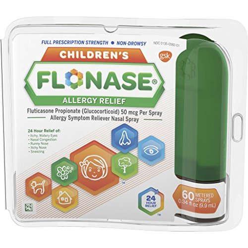 Children's Flonase Allergy Relief Nasal Spray, Allergy Medicine 24 Hour Non-Drowsy, 60 sprays (Best Nasal Spray For Pet Allergies)