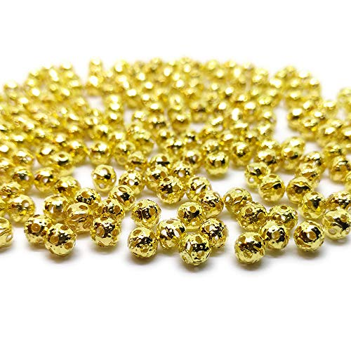 (Beading Station 200-Piece Filigree Hollow Ball Spacer Metal Beads for Jewelry Making, 4mm, Gold)