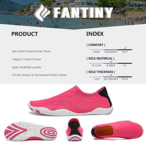FANTINY Men and Women's Barefoot Quick-Dry Water Sports Aqua Shoes with 14 Drainage Holes for Swim, Walking, Yoga, Lake, Beach, Garden, Park, Driving, Boating,SVD,Rose.red,42 4