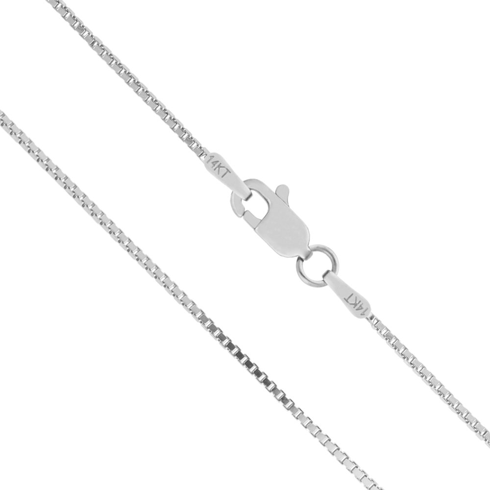 14K Solid White Gold 1mm Box Chain Necklace - 18 Inches
