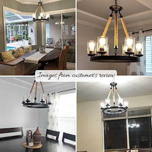 Chandelier LNC Pendant Light 6-Light Chandeliers with E26 Ceramic Bulb Base, Adjustable Length, UL Certification, Ideal for Farm House, Living Room, Kitchen Island, Bar Counter and Caf A02992