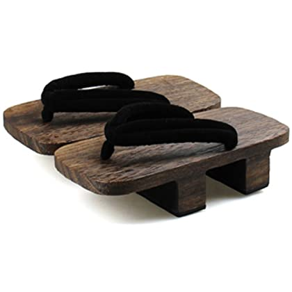 Japanese Traditional Sandals Geta Wooden Clogs Shoes (10.5-11.5 (26.5-27.0CM) Black / Dark Brown)