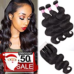 9A Remy Brazilian Virgin Body Wave Hair 3 Bundles with Closure (20 22 24+18 Three Part,Natural Black) Unprocessed 100% Human Hair Weave Bundles with 4X4 Lace Closure Brazilian Body Wave
