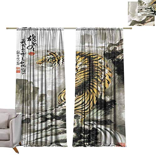 berrly Thermal Insulated Room Darkening Window Shade Fighting of Tigers W108 x L84 Blackout Window Curtain Panel