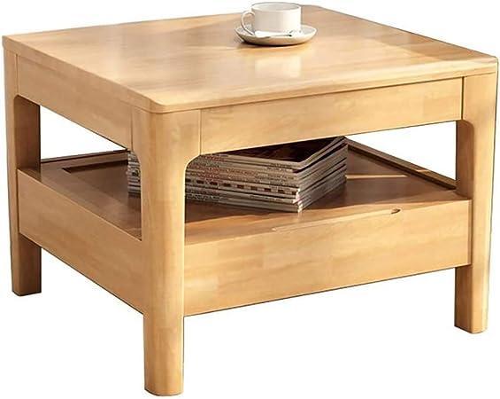 HSRG - Mesa cuadrada moderna de madera maciza de estilo japonés con cajón, mesita de noche multiusos, fácil de montar, para la casa, el salón, la oficina o el dormitorio: Amazon.es: Hogar