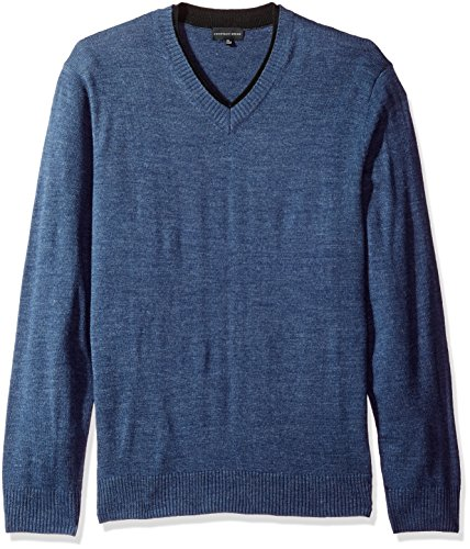 Geoffrey Beene Men's Long Sleeve Double V-Neck Sweater, Indigo Heather, X-Large (V-neck Double Sweater)