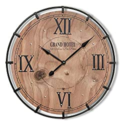 Grand Hotel Paris Wall Clock, Quartz Movement, Extra Large 30 1/4 Inch Diameter, Analog, Roman Numerals Black Iron Floating Frame, Wood, Rivet Details, Battery Powered, 1 AA by WHW