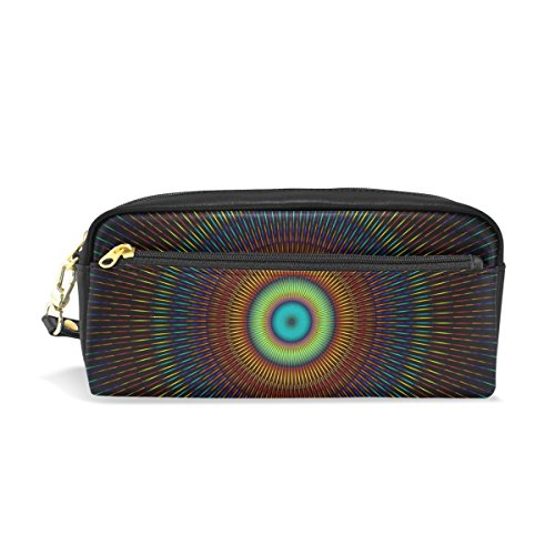 WIHVE Kaleidoscope Mandala Students Pen Pencil Stationery Pouch Bag Case Women Cosmetic Makeup Bag (Leather Womens Kaleidoscope)
