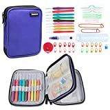 Damero Ergonomic Crochet Hook Set, Knitting Needle Kit With 9pcs 2mm to 6mm Comfortable Rubber Handles Crochets and Complete Accessories, Color Coded, Small Volume and Convenient to Carry, Purple